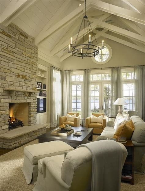 Vaulted Ceiling Decorating by Floor To Ceiling Brick Fireplace Transitional Living