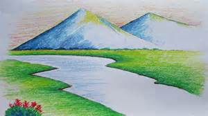 beginners mountain landscape drawing with pastel