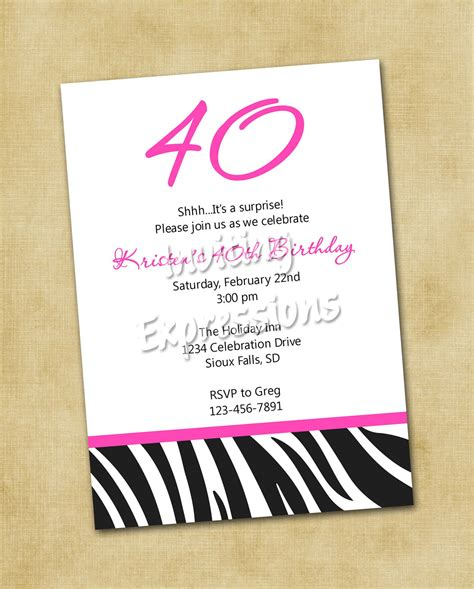 free 40th birthday invitations templates invitations for 40th birthday quotes quotesgram