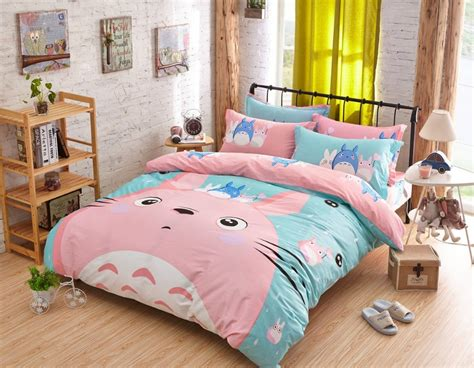 twin size kid bed top quality 100 cotton pink girls bed totoro full twin