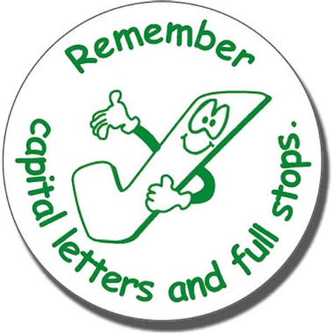 'remember capital letters and full stops' stamper | green