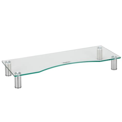 monitor stand cl on glass vonhaus large clear curved glass computer monitor tv