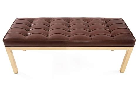 brown leather bench chocolate brown leather and brass bench at 1stdibs