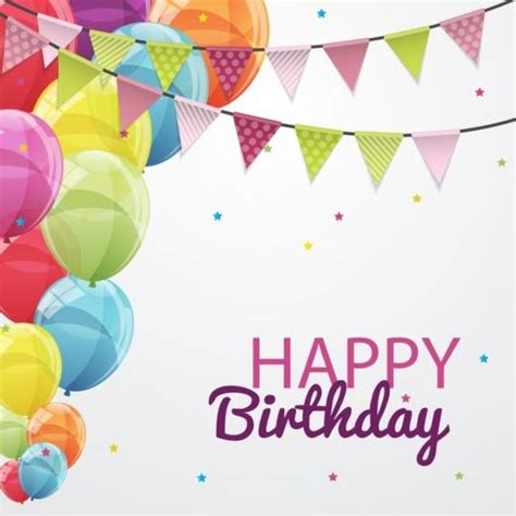 happy birthday corner design corner flag with color balloons birthday vectors 02