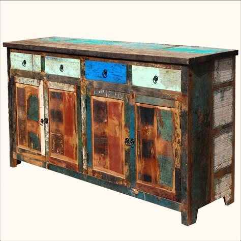 reclaimed wood storage cabinet distressed sideboard weathered rustic old reclaimed wood