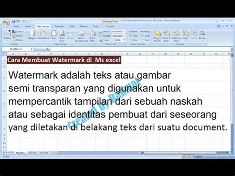 membuat watermark di youtube excel 2007 tutorial cara membuat teks watermark di