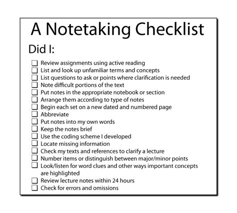 taking notes 5 college success tips jerzs literacy weblog a note taking checklist
