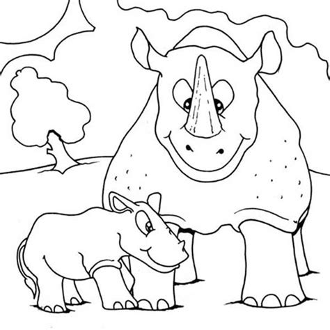 baby rhino coloring page angry mom coloring page coloring pages
