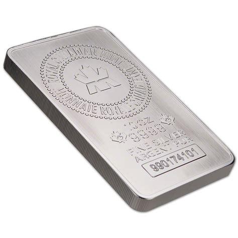 10 oz silver bar five 5 10 oz rcm silver bar royal canadian mint 9999