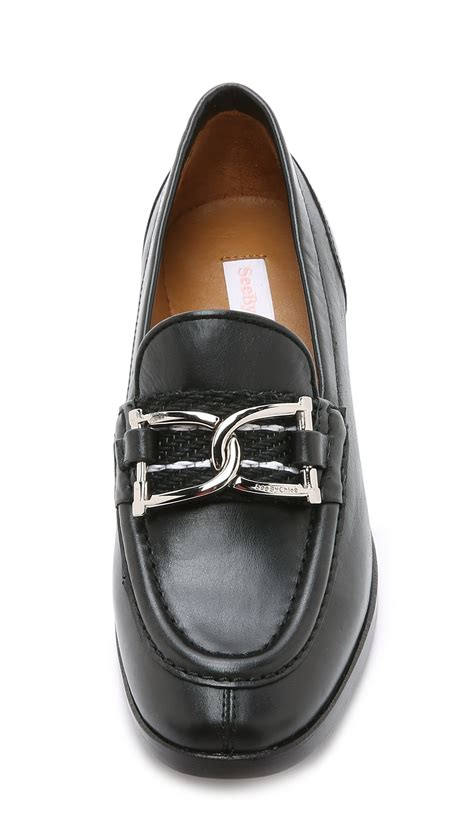 see by loafers see by chlo 233 leather loafers nero nero in black lyst