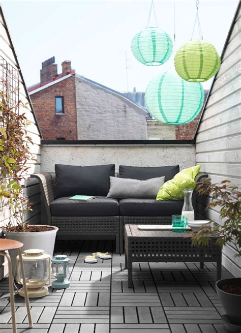 hanging balcony table ikea a small balcony with a black two seat sofa with cushions
