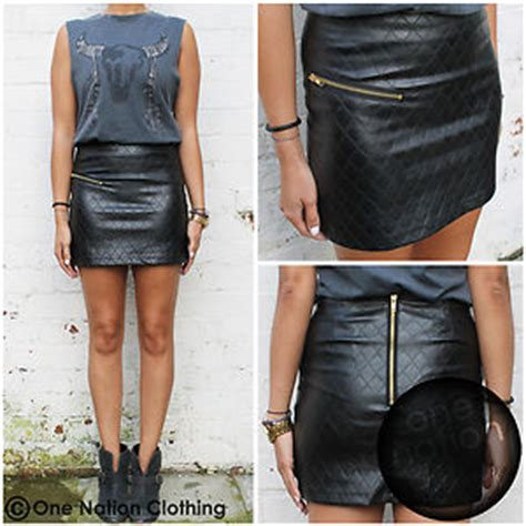 quilted black leather look mini zip high waisted skirt