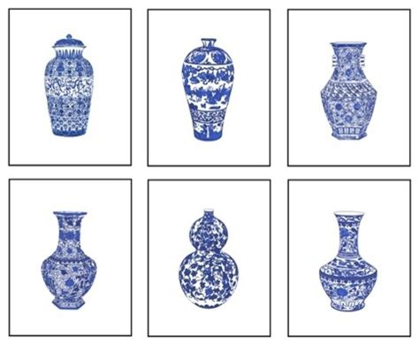 blue and white painting blue and white chinese porcelain gicl 233 e prints set of 6