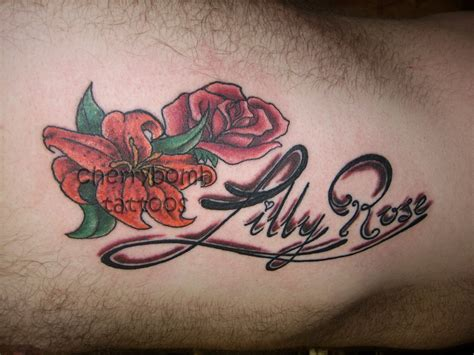rose and lily tattoo and designs pictures to pin on