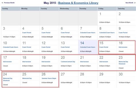 Columbia Mba Calendar by Library Hours Watson Library