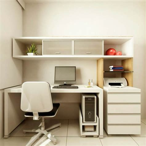 Wonderful Small Home Office Design With White Desk Small Home Office Design