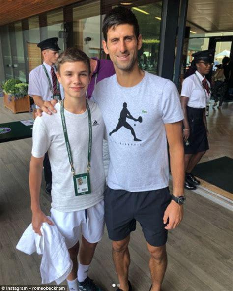 romeo beckham nadal romeo beckham sports tennis whites as he meets sporting