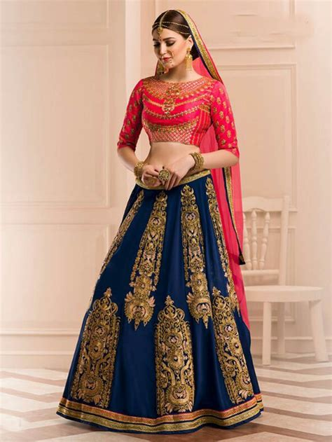 Navy Blue With Pink Color Heavy Embroidery Bridal Lehenga