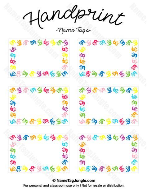 name tag heart design printable handprint name tags