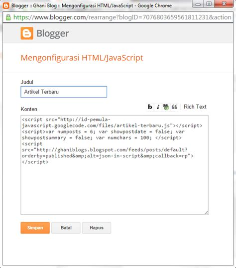 membuat blog artikel cara membuat widget artikel terbaru di blog