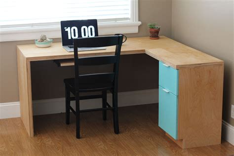diy l shaped desk plans l shape modern plywood desk do it yourself home projects