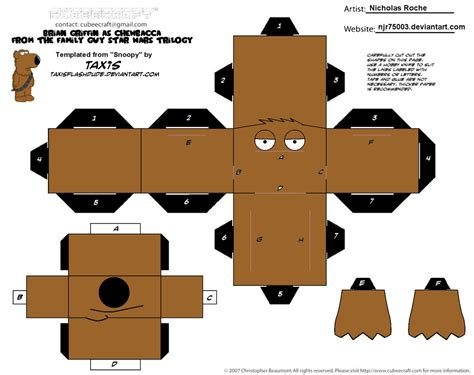 Wars Paper Craft - cubee family wars brian as chewbacca 1 2 by