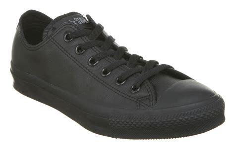 converse all leather ox low black mono trainers shoes
