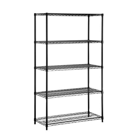 Black Metal Shelf Unit by Honey Can Do 5 Shelf 72 In H X 42 In W X 18 In D Steel