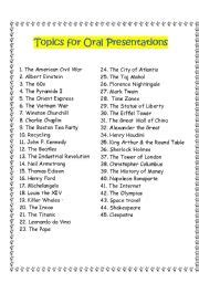 themes for presentation in english english worksheet topics for oral presentations
