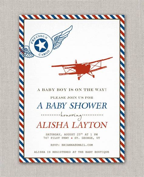 Airplane Baby Shower Invitations by Precious Cargo Vintage Airplane Baby Shower Invitation