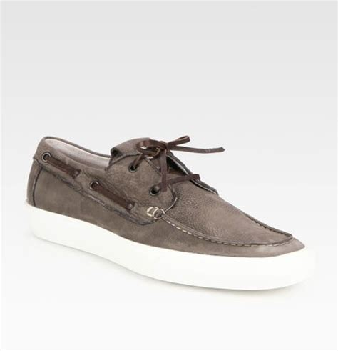 moncler ramatuel leather boat shoes in brown for lyst
