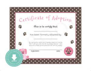 Pet Adoption Certificate Template by Sle Adoption Certificate Template 18 Documents In