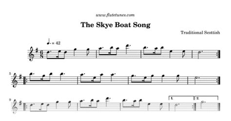 skye boat song music notes the skye boat song trad scottish free flute sheet