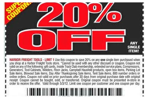 harbor freight 20 off coupon october 2018