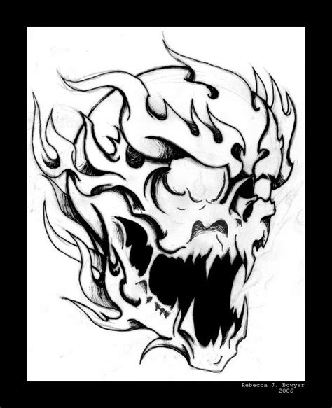 coloring pages fire skulls flaming skull by mailorderchild on deviantart