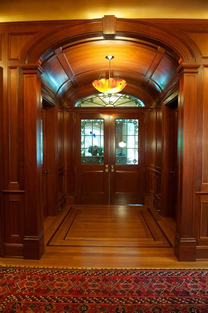 Vaulted Foyer by New Jersey Residence Mahogany Foyer Elliptical Vaulted