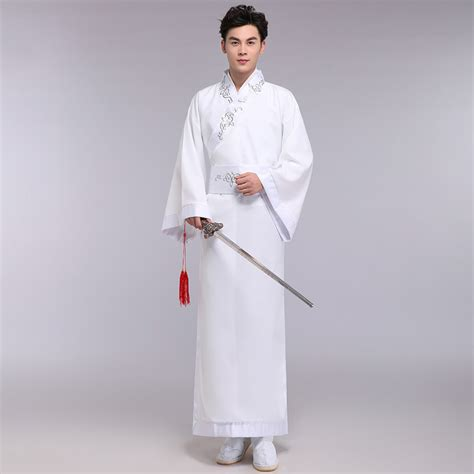 Linen China Koran ancient wear stage performance for dynasty hanfu white robe