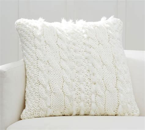 Faux Fur Pillow Cover by Cable Knit With Faux Fur Pillow Cover Pottery Barn