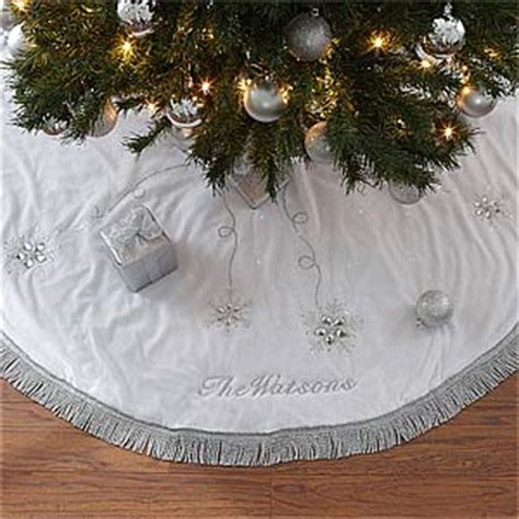 tree skirt silver and white personalized tree skirt season s sparkle