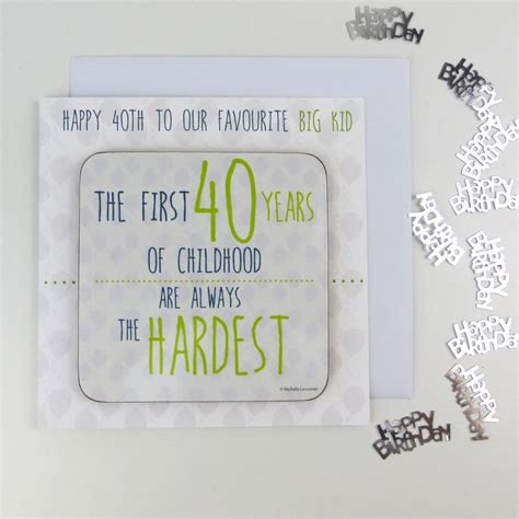 40th Birthday Card Messages 40th Birthday Card With Coaster And Hidden Message By Wink