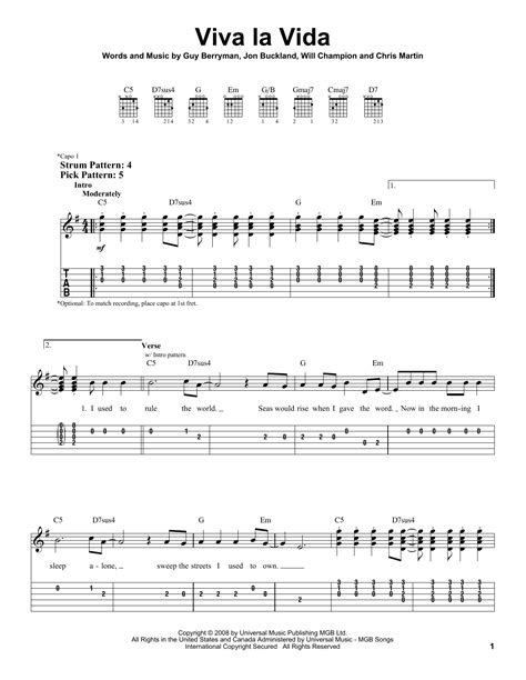 tutorial piano viva la vida coldplay viva la vida sheet music direct