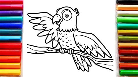 coloring  kids  big parrot bird colouring pages