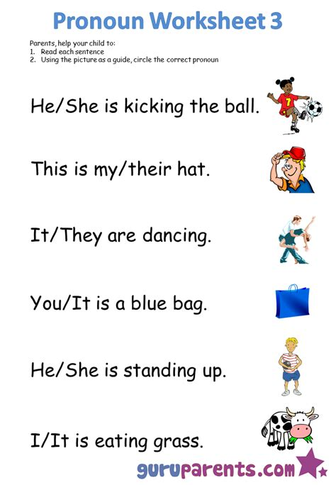 Free Pronoun Worksheets by Pronoun Worksheets Guruparents