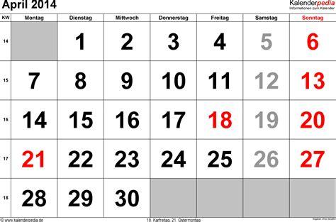 Calendar April 2014 Kalender April 2014 Als Pdf Vorlagen