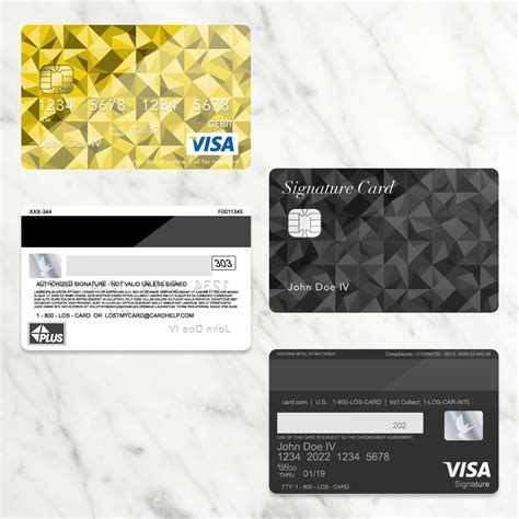 visa card template bank card credit card layout plus with env chip psd