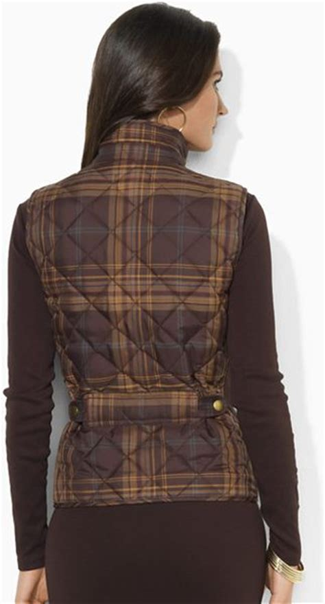 Ralph Plaid Quilted Vest by By Ralph Petites Plaid Quilted Vest In Brown