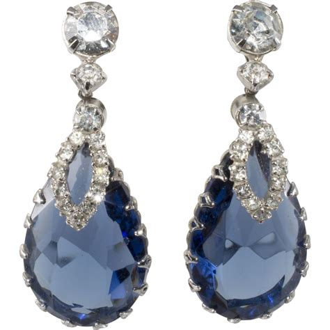 rhinestone earrings sapphire blue rhinestone dangle earrings from rubylane