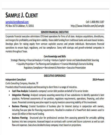 resume format for senior finance executive 25 executive resumes in pdf sle templates