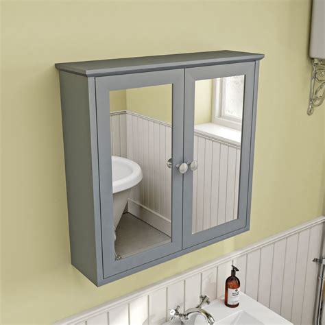 The Bath Co Camberley Satin Grey Wall Hung Mirror Cabinet Mirror Bathroom Cabinet
