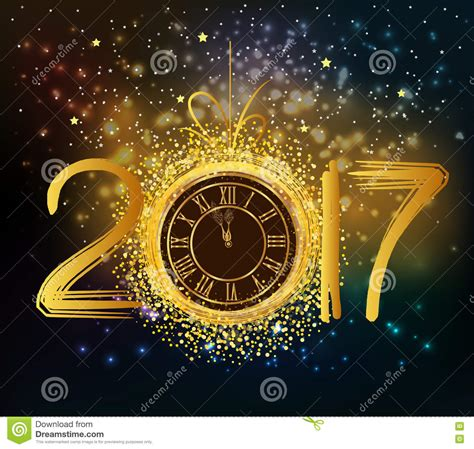 new year background 2017 happy new year background with gold clock stock